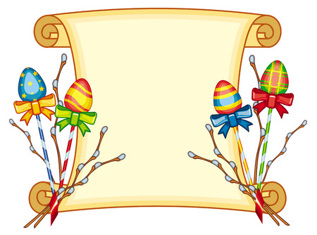 good looking: Paper scroll with Easter eggs and willow branches