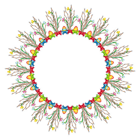 spring roll: Garland with Easter eggs and willow branches Illustration