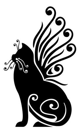 zwarte kat met vleugels Stock Illustratie