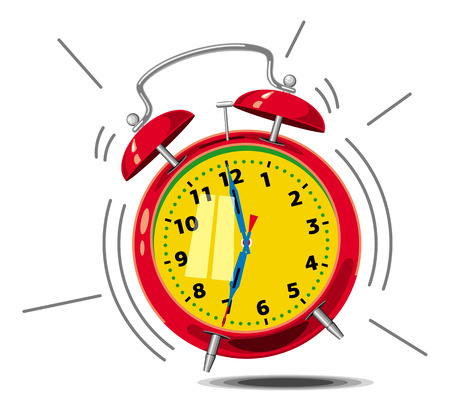 round the clock: Red alarm clock ringing