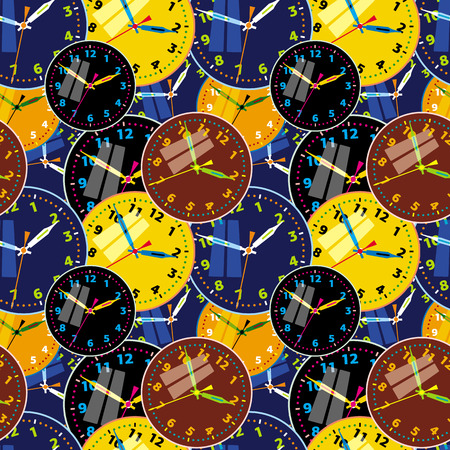 Seamless pattern with clock faces