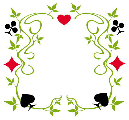Floral frame with clubs, diamonds, hearts and spades Vector