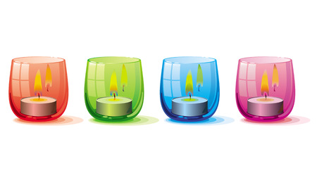 Candle lights in the glass holders Illustration