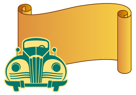 paper scroll: Vintage car with paper scroll