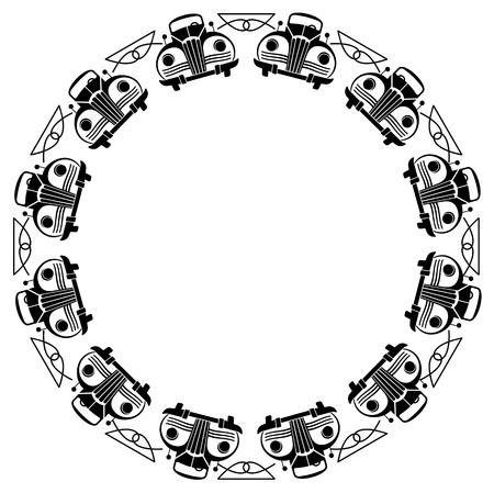 Round frame with retro cars silhouettes Vector