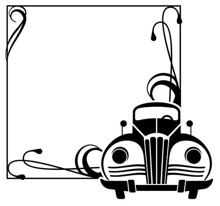 frame with retro car silhouette Vector