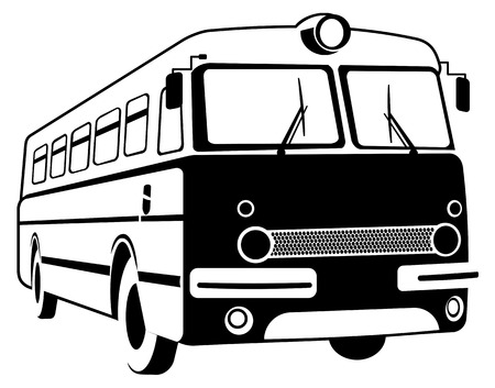 contour: Vector image of retro bus contour