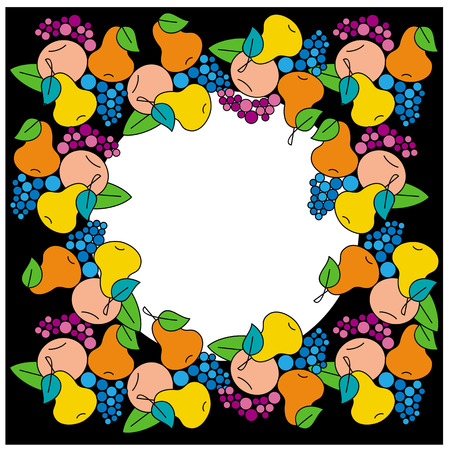 free fall: Garland with fruits on a black  background