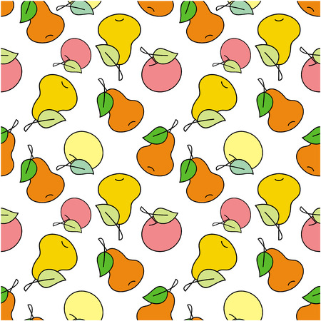 pears: Seamless pattern with apples and pears