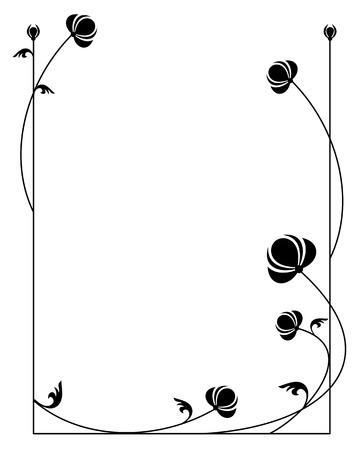 fekete-fehér: Silhouette virágos keret Illusztráció