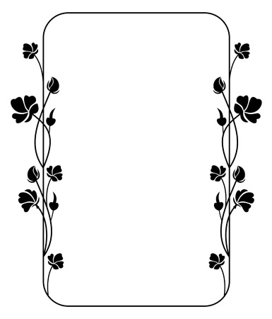 Silhouette floral frame 向量圖像
