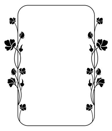 Silhouette floral frame Illustration