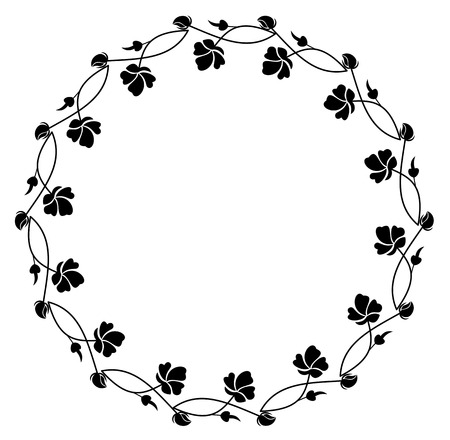 Round silhouette floral frame Illustration