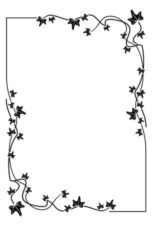 Silhouette frame with ivy Vettoriali