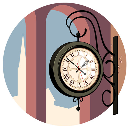 Wall clock on the railway station Vector