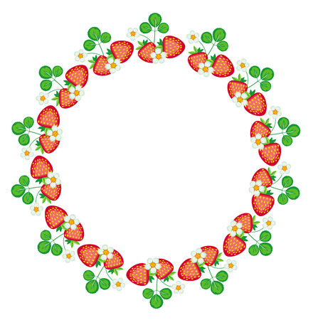 Round frame with strawberry Vector