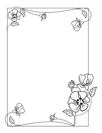 Silhouette frame with flowers