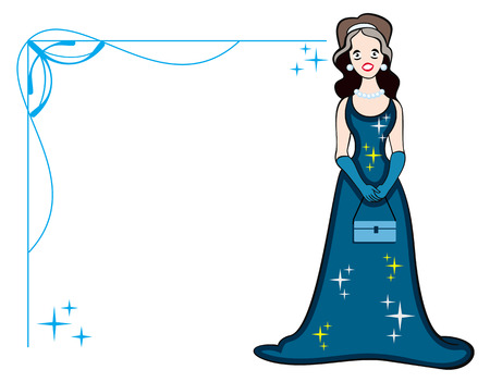 Elegant frame and a girl in the black evening dress Vector