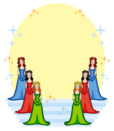 Vector background with girls on a stage Vector