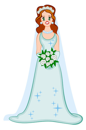wedding gown: Girl in wedding gown on a white background