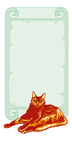 paper scroll: Red cat with paper scroll