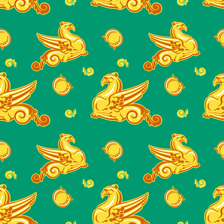 Seamless pattern with griffins Vector
