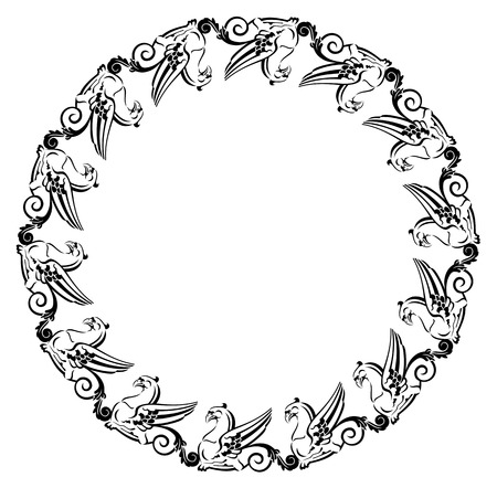 Round frame with gryphons Vector