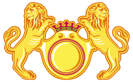golden shield: Golden lions with golden shield isolated on a white background