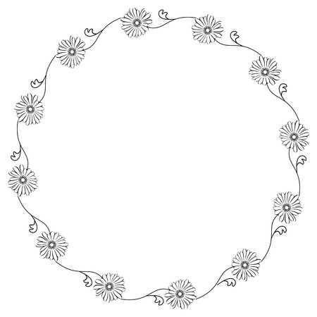 camomiles: Round silhouette frame with camomiles