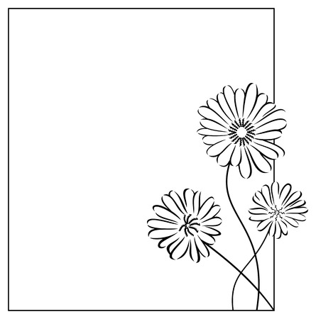 camomiles: Silhouette frame with camomiles