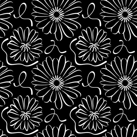 chamomile: Seamless pattern with chamomile silhouette