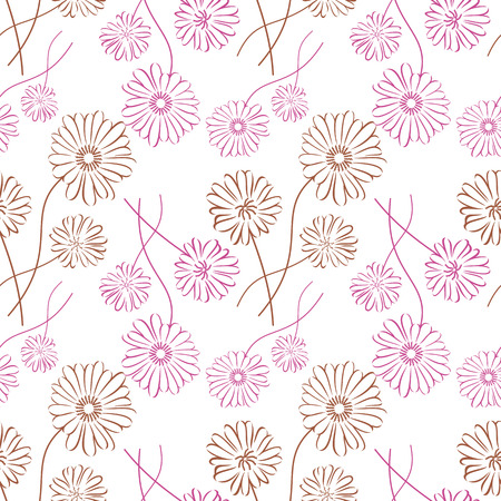 Seamless pattern with chamomile silhouette