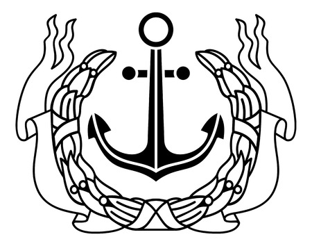 Emblem with anchor Vector