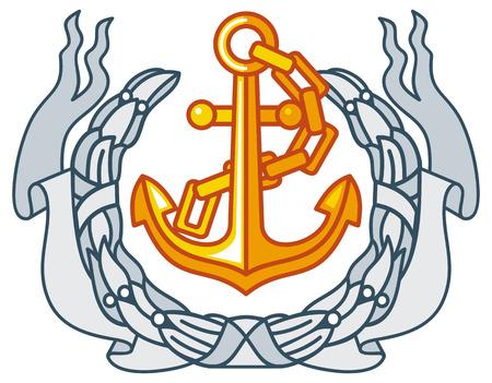 cockade: Golden anchor and laurel wreath