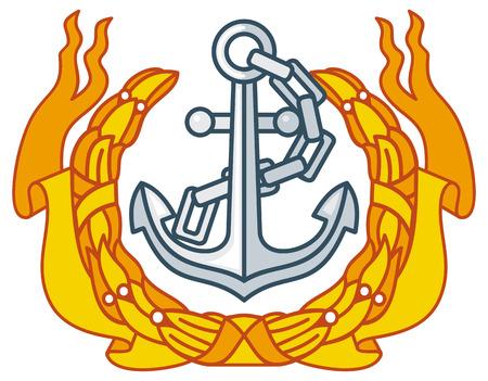 cockade: Silver anchor and laurel wreath