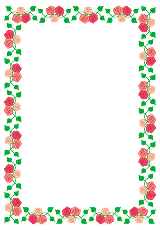 Frame with roses Vector Illustration