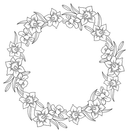 Black and white round frame with lilies