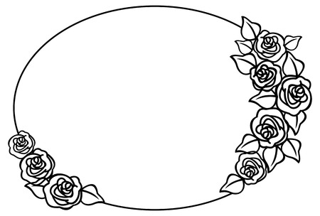 oval: Round frame with outline roses Illustration