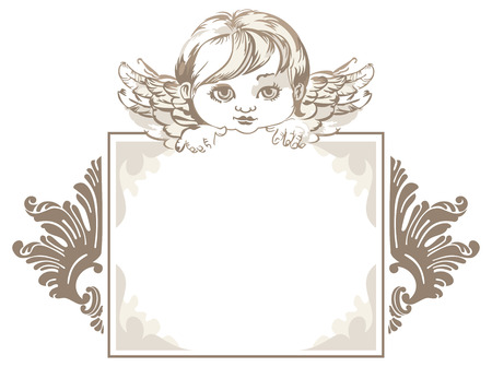 copy text: grayscale frame with angel head in vintage style