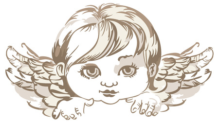 praying angel: grayscale image of an angel head