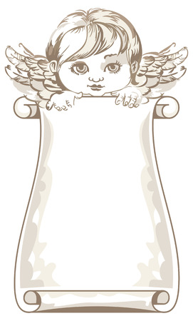 Angel with paper scroll Illustration