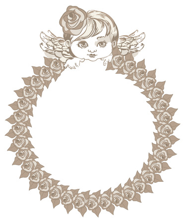 angel roses: Round frame with roses and angel in retro style