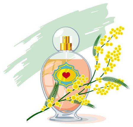 Flacon de parfum et de la branche de mimosa isolé sur un fond blanc