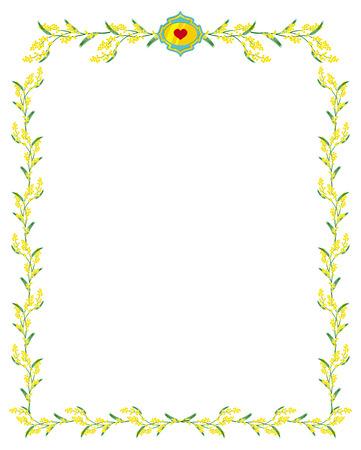 mimosa: Elegant frame with mimosa branch Illustration