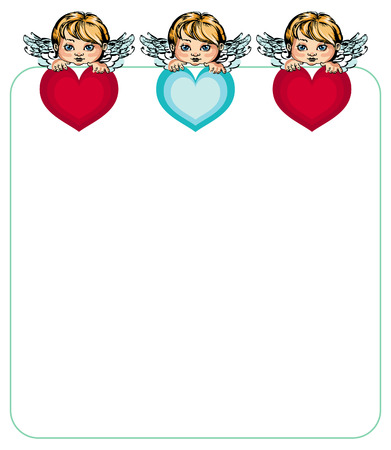 cupido: Frame and angels with hearts in their hands Illustration