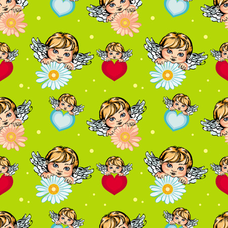 valentine cherub: Seamless pattern with angels Illustration