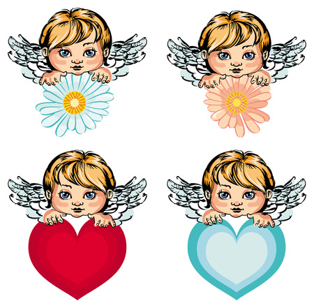 heaven background: Cute angels isolated on a white background