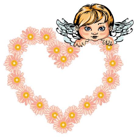 cupido: Angel holding heart shaped flower garland