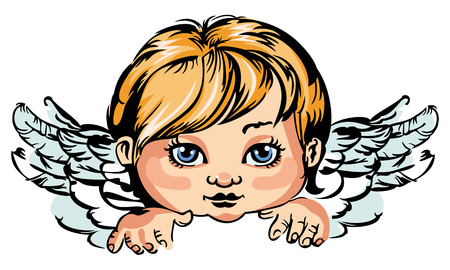 cupido: Portrait of an little angel isolated on a white background Illustration