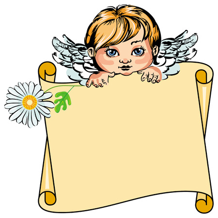 cupido: Angel with paper scroll Illustration